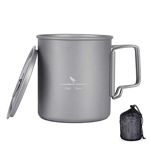 ZYVoyage Titan Tasse Camping Becher Hängender Topf 420ml / 750ml Tragbar Wasser Mug Klappgriff mit Deckel,Ultra Leicht Cup für Reisen Outdoor Mug Picknick Geschirr