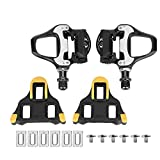 VGEBY 1 Pair Bike Pedals, Self-Locking Road Bike Pedals Aluminum Alloy Cycling Pedal with Fittings