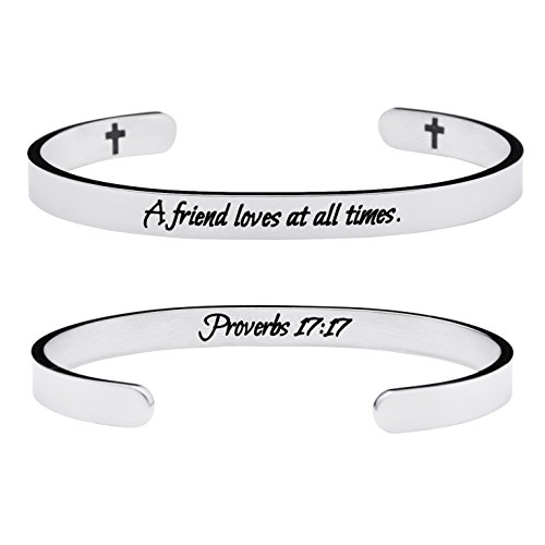 top rated Yi Yang Friendship Bracelet Christian Jewelry Positive Cuff Bracelet Memorial Gift Engraved Proverbs… 2020