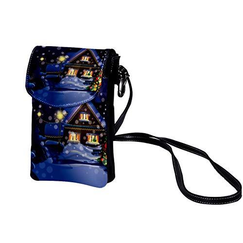 TIZORAX Christmas Snowfall Cabin Landscape Small Crossbody Bag Cell Phone Purse Wallet for Women Girls