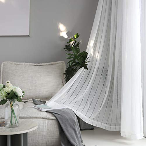 Home Brilliant White Net Curtains Striped Window Voile Panels for Net Pole Tab Top, Set of 2, 45 inch Drop