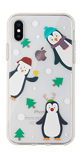 Buyus Xmas Case Designed for iPhone X/Xs, Clear with Christmas Theme, Soft TPU Silicone Protective Cover with Cute Animal Pattern for Women and Girls (Holiday Penguins)