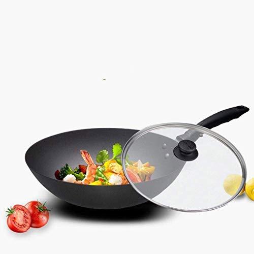 SMEJS Wok - 30CM caldera de hierro fundido olla wok wok hogar