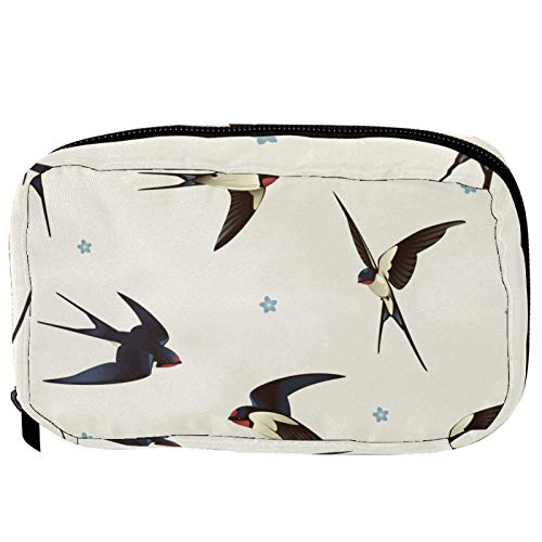 Makeup Bags Portable Travel Cosmetic Bag Organizer Multifunction Case Bird Animal Swallow with Zipper Toiletry Bags for Women