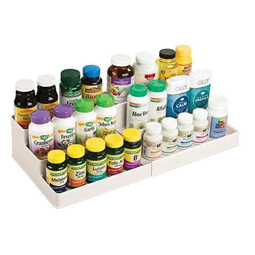 mDesign Adjustable, Expandable Plastic Vitamin Rack Storage Organizer Tray for Bathroom Vanity, Countertop, Cabinet - 3 Shelves - Holds Supplements, Medication - Cream/Beige