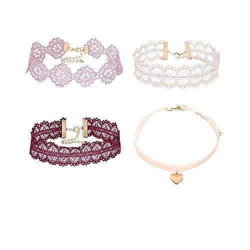 MingJun Rosa und rote hohle Blumen-Spitze-Choker Nette elegante klassische gotische Tätowierung-Halskette für Frauen-Mädchen-Teens (4PCS)