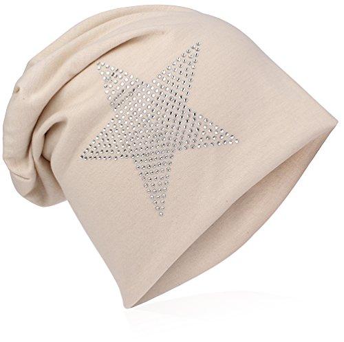 Miobo - Berretto tombante classico con stella in tessuto, in jersey, unisex, taglia unica beige Taglia unica