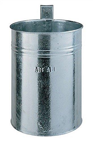 Afvalcontainer 35 l verz. f. Wand/palen H.425xD.330mm met sleutel