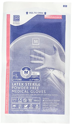 Premier pmp3302Latex PF steril Handschuh Mediu M (Paar) (50Stück)