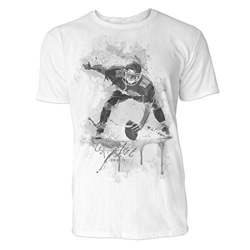 American Football Spieler Sinus Art ® Herren T Shirt (Schwarz Weiss) Sportshirt Baumwolle