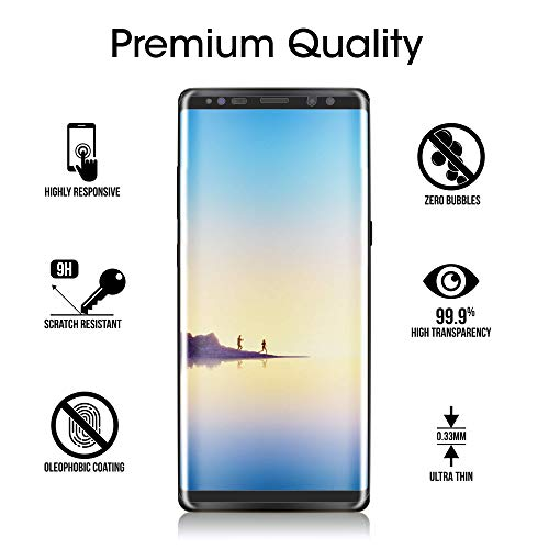 amFilm Glass Screen Protector for Samsung Galaxy Note 8, Full Screen Coverage, 3D Curved Tempered Glass, Dot Matrix with Easy Installation Tray (Black)