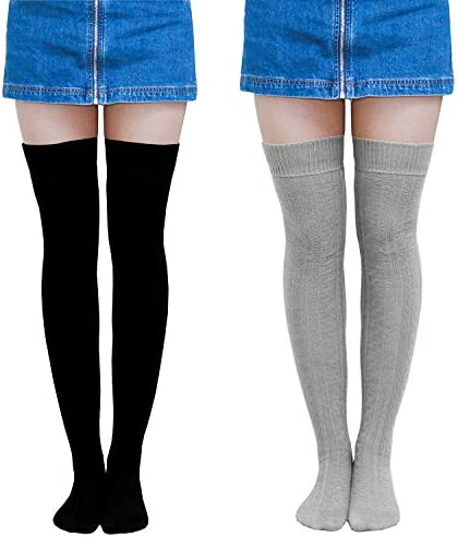 Thigh High Socks for Women Girls Over Knee Socks Warm Winter Leg Warmers Khaki
