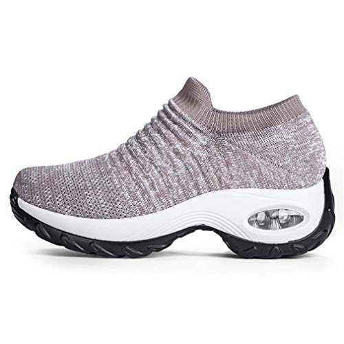 Zapatillas Deportivas de Mujer Gimnasio Zapatos Running Deportivos Fitness Correr Casual Ligero Comodos Respirable Negro Gris Morado 35-42 KH37