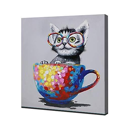 Enweonga schattige kat hand beschilderd abstract schilderen, gekleurde bekers foto's schilderijen op canvas muur kunst, voor wanddecoratie