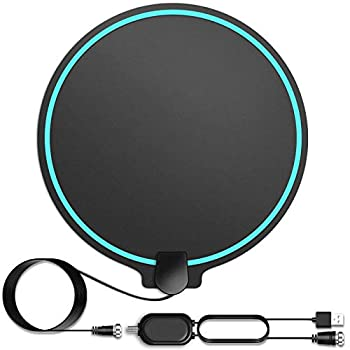 HD Digital TV Antenna Long Range 150 Miles Indoor Amplified Signal Booster Support 4K 1080P UHF VHF FM Local Channels with Coax Cable and USB Power Adapter Round Shape