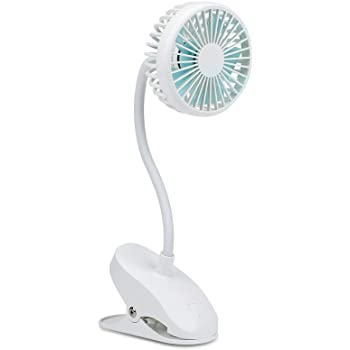 PRAVETTE USB Stroller Fan Clip on,Flexible Bendable Mini Personal Desk Electric Fans with 2000mAh Rechargeable Battery Operated for Office,Carseat,Bedside,Camping,Travel (White)
