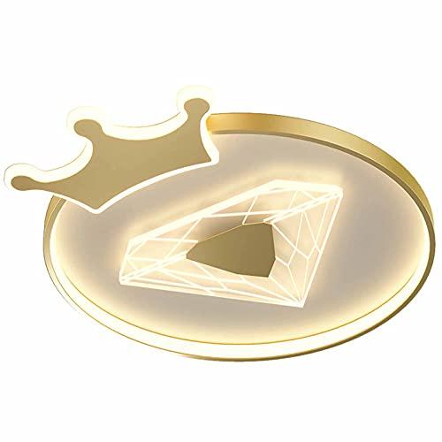 LANTING Lámpara de techo LED creatividad corona niña Habitación princesa diamante Luz de Plafón Regulable Con control remoto oro Cuarto de los niños Cuarto Iluminación de techo 35W 2500LM L48*W40*H6CM