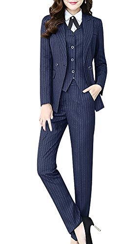 LISUEYNE Women's Three Pieces Office Lady Stripe Blazer Business Suit Set Women Suits Work Skirt/Pant,Vest Jacket