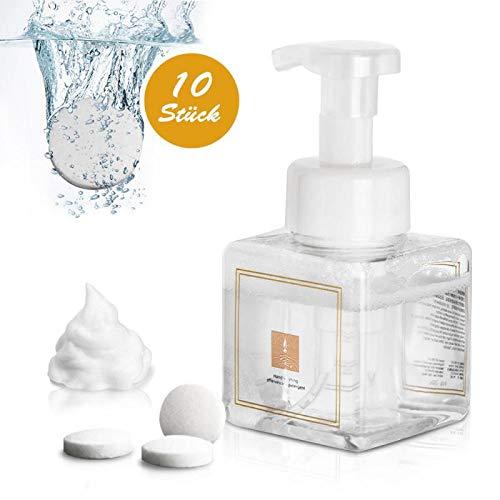 Inmorven Seifenspender Schaumseifenspender, Seifen Nachfüller 10 pcs Handwasch-Brausetabletten 250ml Seifenspender Kunststoff für zu Hause, Krankenhaus, Klinik, Apotheke, Küche