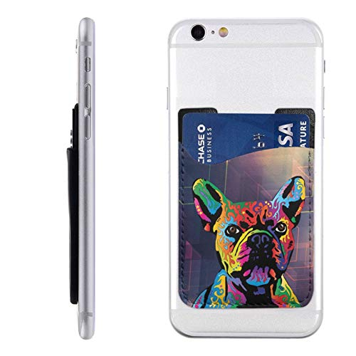 Leather Phone Card Holder Rainbow French Bulldog Stick On Wallet for iPhone and Android Smartphones
