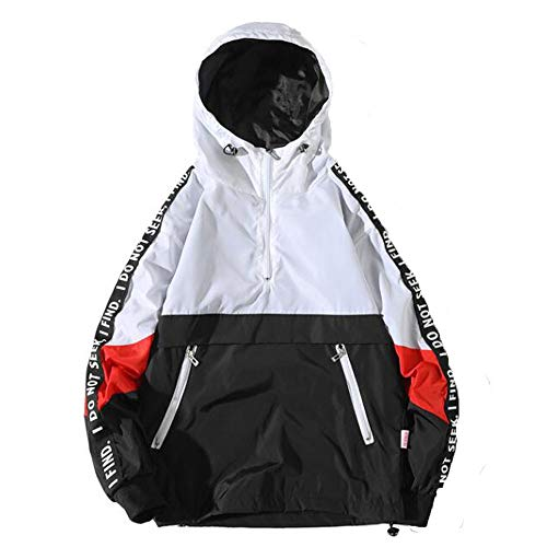 haoricu Men's Hooded Sweatshirt Autumn Loose Hoodie Plus Size Jacket Men's Football Basketball Sports Jacket White