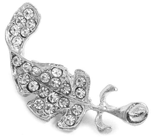 2LIVEfor anstecknadel Silber Feder brosche Kristalle Clip Schmucknadel mit Strass Schalnadel Vintage