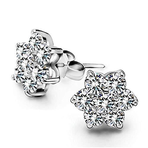 Pendientes Mujer Moda 925 Pendientes De Botón De Flor De Nieve con Diamantes De Imitación De Plata Esterlina Joyería De Fiesta para Mujer