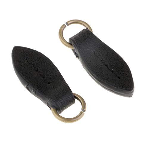 MOPOLIS 2Pcs Leaf Leather Zip Puller Zipper Pulls Bags Backpack Fastener Slider | Color - Black