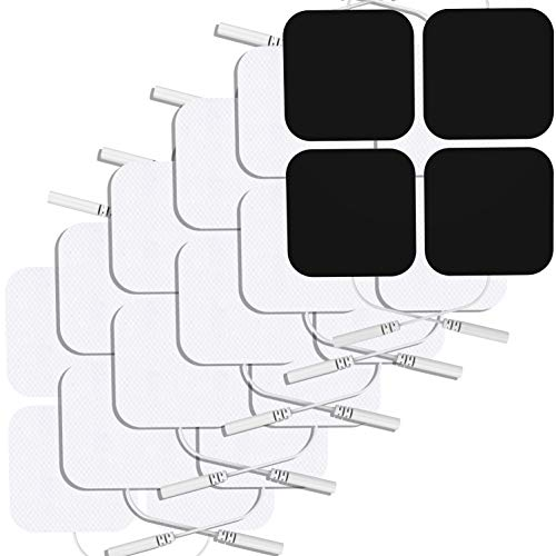 NURSAL Square TENS Pads 2X2 24Pcs, 3rd Gen Latex-Free Replacement Pads Electrode Patches with Upgraded Self-Stick Performance and Non-Irritating Design