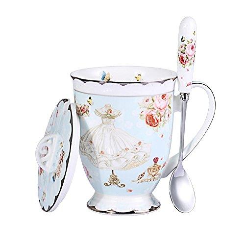 YBK Tech Euro Style Art Bone China Ceramic Tea Cup Coffee Mug with Lid for Breakfast Home Kitchen (Butterflies Pattern) (Blue)
