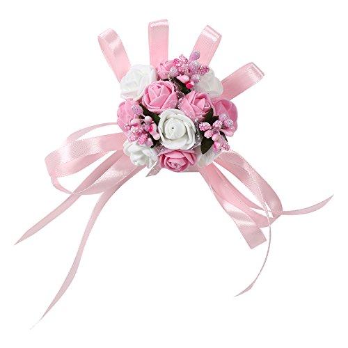 Set di 2 damigella braccialetti di Matrimonio exquis floreale polso donne ragazze Corsage Party Prom Dance Fiore Bouquet Decorazione per Festa Matrimonio # 3 Rose + Blanc