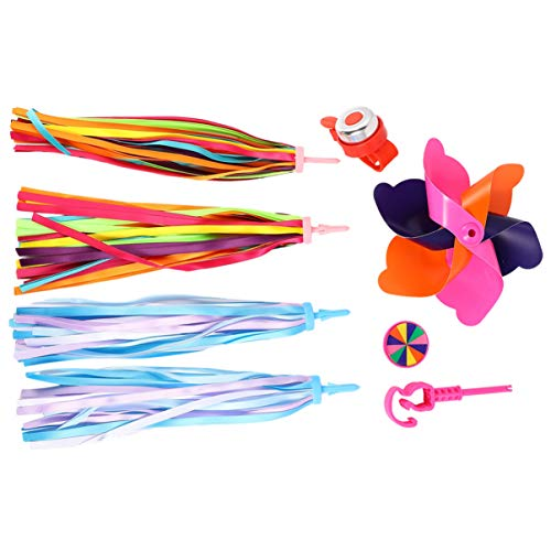 Wakauto Children Bike Handlebar Accessories Bike Streamers Pinwheel Horn Bell Bike Front Decorations for Kid Bicycle Scooter