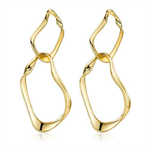 QIN Pendientes Colgantes Grandes de Moda 2021, joyería geométrica de Metal Dorado para Mujer, Pendientes Grandes Colgantes Modernos para Mujer