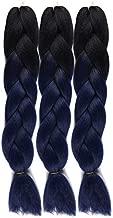 Jumbo Braiding Hair Eztensions 3pcs African American Hair Braiding Extensions 24Inch High Temperature Ombre Braids Crochet Synthetic Hair(Black-Dark Blue)