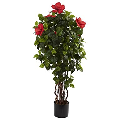 Nearly Natural 5410 Hibiscus Tree, 4-Feet, Green