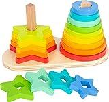 small foot 11720 Steckspiel Regenbogen, Förderung der Feinmotorik durch Stapeln, Stecken und Sortieren, ab 12 Monaten Toys