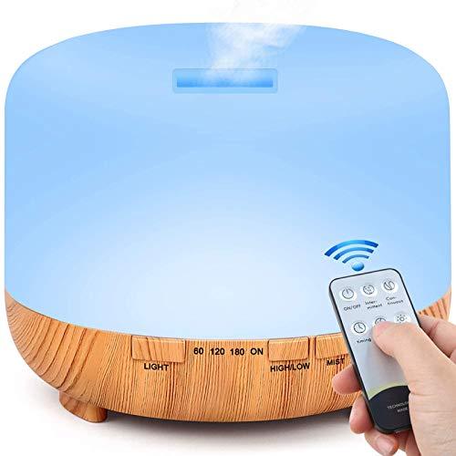 Aroma Oel Diffuser, 500ML Ultraschall Luftbefeuchter Diffuser mit Fernbedienung, BPA-Free Diffusor Aromatherapie für Wohnung, Schlafzimmer, Zuhause Aktualisiert