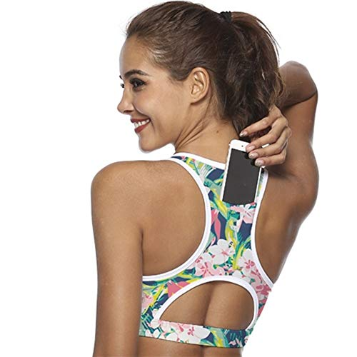 Sujetadores deportivos Empuje compresión del bolsillo de teléfono con IBHT Top sujetador de los deportes de las mujeres la ropa interior superior femenino de la gimnasia yoga fitness Correr Bh del suj