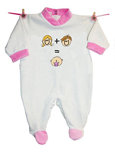 zigozago–Mum + Dad = Me–bebé niño mono Einteiler–Body de algodón terciopelo rosa Rosa Talla:68