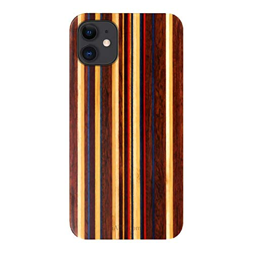 iATO Wood Case for iPhone 12. Unique & Classy Open Top & Bottom Minimalistic Real Natural Skateboard Wood Case Designed for iPhone 12. Wooden Case Compatible with New 2020 iPhone 12 6.1-inch