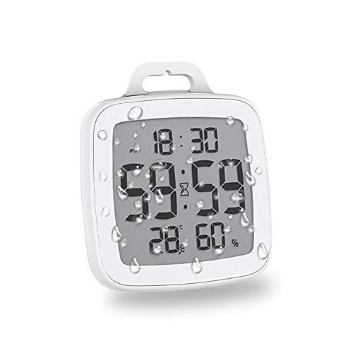 BALDR Badezimmeruhr Wasserdicht, Duschuhr Wanduhr Digital mit LCD Display Thermometer Hygrometer Innen Wetterstation Wanduhren, 12/24 Stunden Format, Countdown Timer Für Dusche Küche