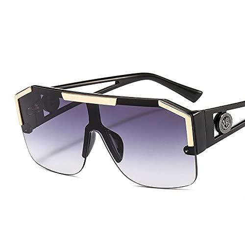 WQZYY&ASDCD Gafas de Sol Gafas De Sol Hombres Mujeres Moda Color Lente Marco De Aleación Gafas De Sol Rectangulares Uv400-C6