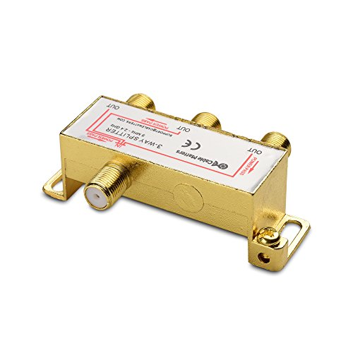 Cable Matters 2-Pack Bi-Directional 2.4 Ghz 3 Way Coaxial Cable Splitter for STB TV, Antenna and MoCA Network - All Port Power Passing - Gold Plated and Corrosion Resistant