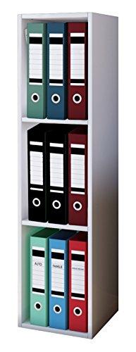 VCM Aktenregal Bücherregal Regal Standregal Büroregal Ordnerregal Schrank Büro Möbel Weiß 115 x 34 x 29 cm