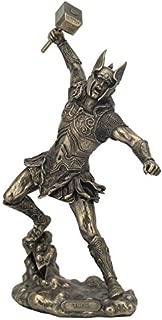 Bronze Finish Norse God Thor with Hammer Statue Sculpture Viking Mythology
