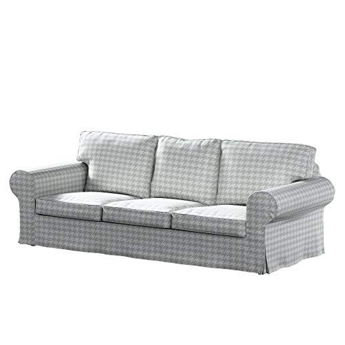 Dekoria Ektorp 3-Sitzer Sofabezug Nicht ausklappbar Sofahusse passend für IKEA Modell Ektorp grau