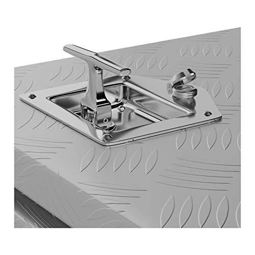 MSW Alubox abschließbar Werkzeugkasten ATB-910 Deichselbox 119 L Transportbox Metallbox mit Deckel Riffelblech 91 x 44,5 x 43 cm Aluminiumbox - 5