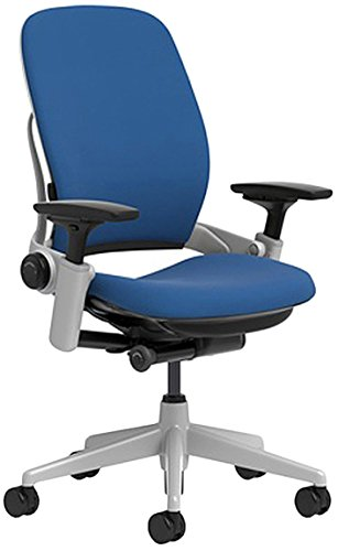 Steelcase Leap Chair with Platinum Base & Hard Floor Caster, Blue