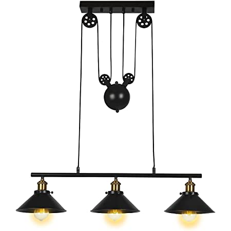 Three Light Pulley Pendant Light Kitchen Island Light Adjustable Industrial Rustic Chandelier Farmhouse Vintage Ceiling Lights Fixture For Kitchen Island Dining Room Foyer Amazon Co Uk
