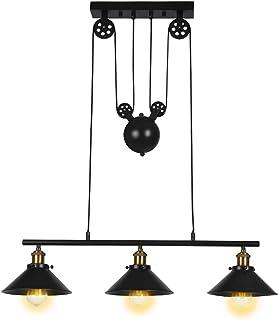 Lampe à suspension à trois lumières, îlot de cuisine réglable industriel rustique lustre ferme ferme Vintage plafonniers l...